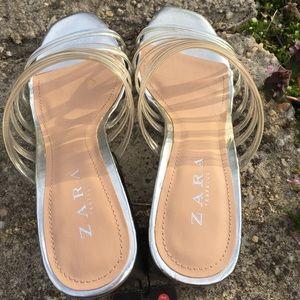 Zara Shoes - Zara Clear Strappy Block Heel Slide Sandal Size 9